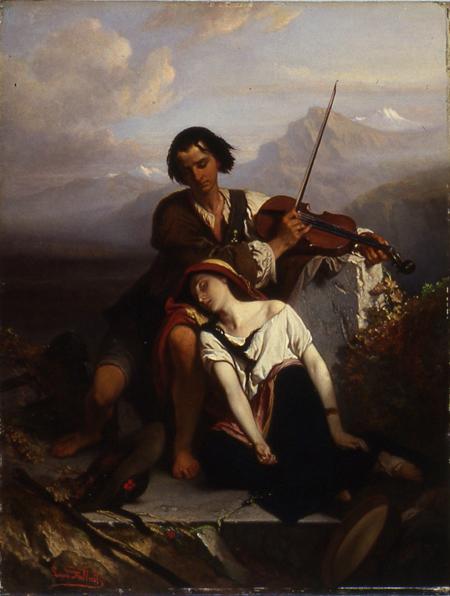 Power of Music (Sức mạnh âm nhạc) - Người anh cố gắng an ủi em gái mình bằng điệu nhạc violin... - Louis Gallait... (Wikipedia)