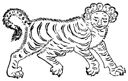 """Trong Sơn hải kinh có ghi chép: Thần giữ đài là Lục Ngô - là quái vật mặt người thân hổ, trong Hải nội tây kinh lại được gọi là """"Thú khai sáng"""", thân to lớn như hổ, đứng trên núi Côn Luân, nhìn chăm chú về phương Đông."""