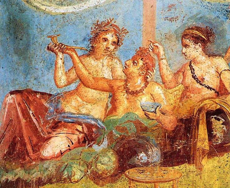 Bức tranh vẽ khung cảnh ăn chơi trụy lạc được tìm thấy ở thành phố cổ Pompeii - nơi bị nhấn chìm bởi cơn thịnh nộ của núi lửa. Trước khi dịch bệnh ập tới, Athens cũng là một thành phố đầy rẫy những tội lỗi tương tư như Pompeii đã từng. (Ảnh: Wikipedia)
