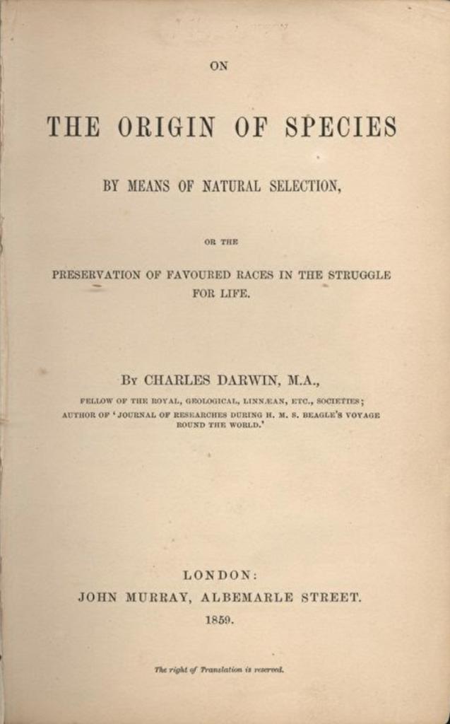 """Hình: Trang bìa của """"Nguồn gốc các loài"""" - xuất bản năm 1859"""