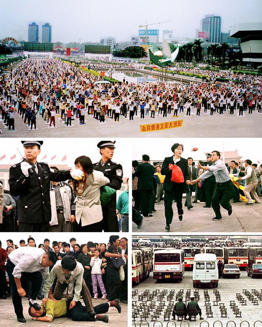 Hình ảnh đàn áp những người tu luyện Pháp Luân Công tại nhiều nơi ở Trung Quốc. (Ảnh: Tổng hợp)
