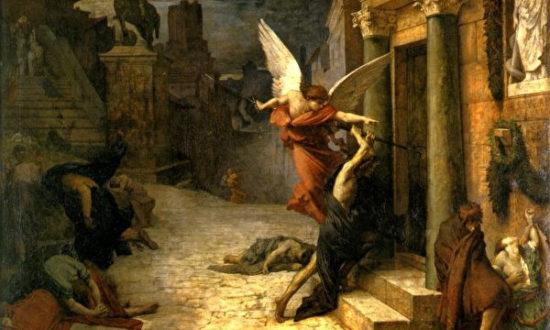 """Bức tranh """"Peste à Rome"""" (dịch hạch tại thành Roma) của Họa sỹ Jules Elie Delaunay (1828-1891), hiện đang được trưng bày tại Bảo tàng Orsay, Paris."""