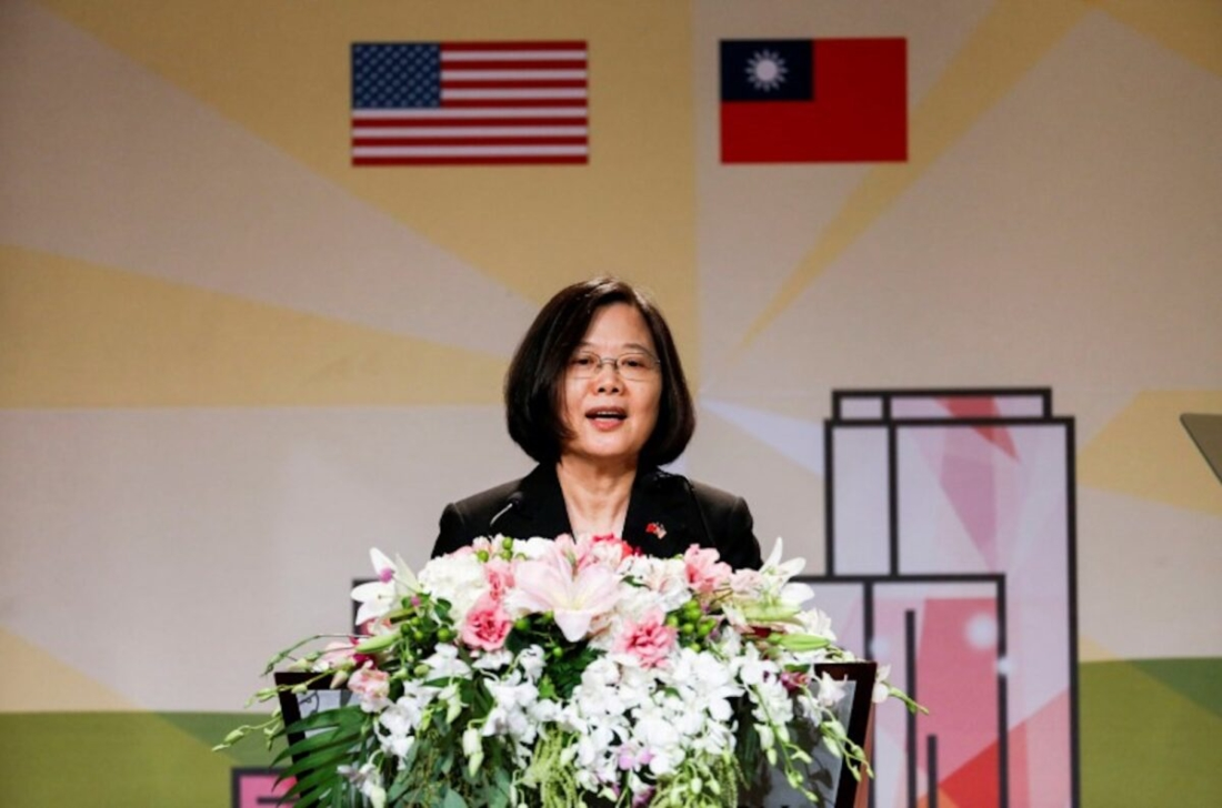 Tổng thống Đài Loan Thái Anh Văn phát biểu tại buổi tiệc thiết đãi kiều bào tại Los Angeles trong chuyến thăm Los Angeles vào ngày 12/8/2018. (Ringo Chiu / Reuters)