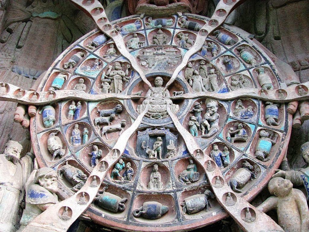 """""""Lục đạo luân hồi đồ"""" trên núi Đại Túc Bảo Đỉnh ở Tứ Xuyên, Trung Quốc. (Ảnh: Wikimedia Commons)"""