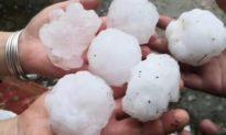 Trung Quốc: Sấm sét cùng mưa đá to như quả bóng bàn tại Quý Châu, Hồ Nam