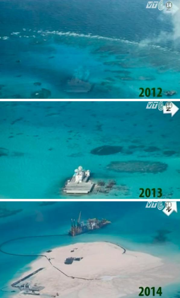 Từ năm 2013-2015, Trung Quốc đã đẩy mạnh hoạt động cải tạo đất trên các rạn san hô và đảo san hô trong chuỗi đảo Trường Sa ở Biển Đông. Ảnh: Đảo Gạc Ma từ năm 2012 - 2014.
