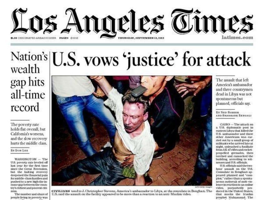 Hình ảnh vị đại sứ Mỹ Chris Stevens sau vụ tấn công tại Benghazi.