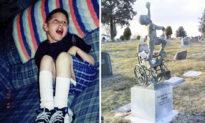 Cảm động cha tạc tượng con trên bia mộ, cho ước mơ một lần con được đứng thẳng