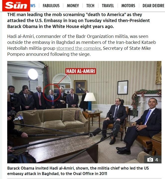 Hadi al-Amiri cũng chính là người từng có mặt trong phái đoàn của Thủ tướng Iraq Nouri al-Maliki, đã tới Phòng Bầu dục năm 2011 với tư cách là khách mời của Tổng thống Barack Obama.