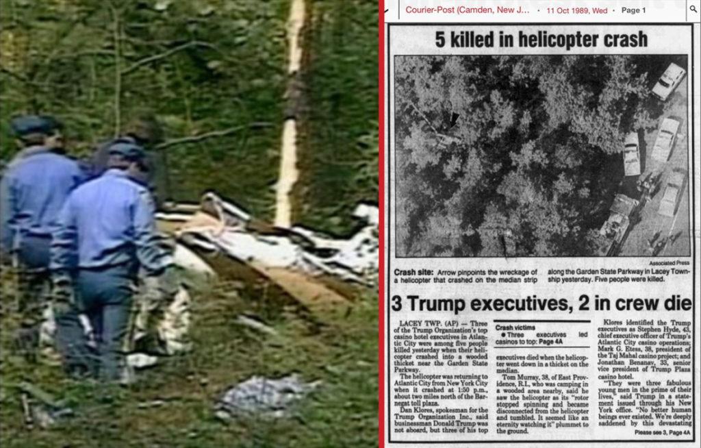 Chiếc máy bay trực thăng tử nạn (trái) và bài báo về sự kiện vào năm 1989 (phải).