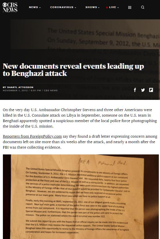 Các phóng viên của tờ Foreignpolicy nói rằng họ tìm thấy một bản thư nháp trong tòa đại sứ Mỹ tại Benghazi sau vụ tấn công. (Ảnh chụp màn hình)