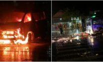 Xe cứu thương lao vào dải phân cách bốc cháy ngùn ngụt, 7 người bị thương