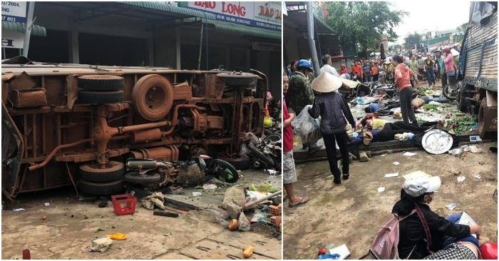 Xe tải lớn lao thẳng vào chợ, nhiều người thương vong nằm la liệt