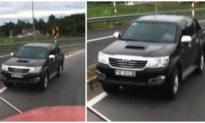 Lại thêm một ôtô bán tải chạy ngược chiều trên đường dẫn cao tốc Đà Nẵng - Quảng Ngãi