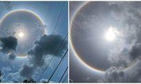 Quầng sáng bao quanh mặt trời xuất hiện ở Đông Nam Bộ