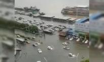 Mặt sông Dương Tử đã dâng lên ngang với mặt đường, không cách nào phân rõ đâu là sông, đâu là đường!