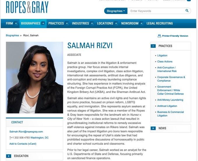 Salmah Rizvi có thân thế bất thường và phức tạp. Trước khi trở thành luật sư, cô đã làm việc trong cộng đồng tình báo của chính quyền Obama