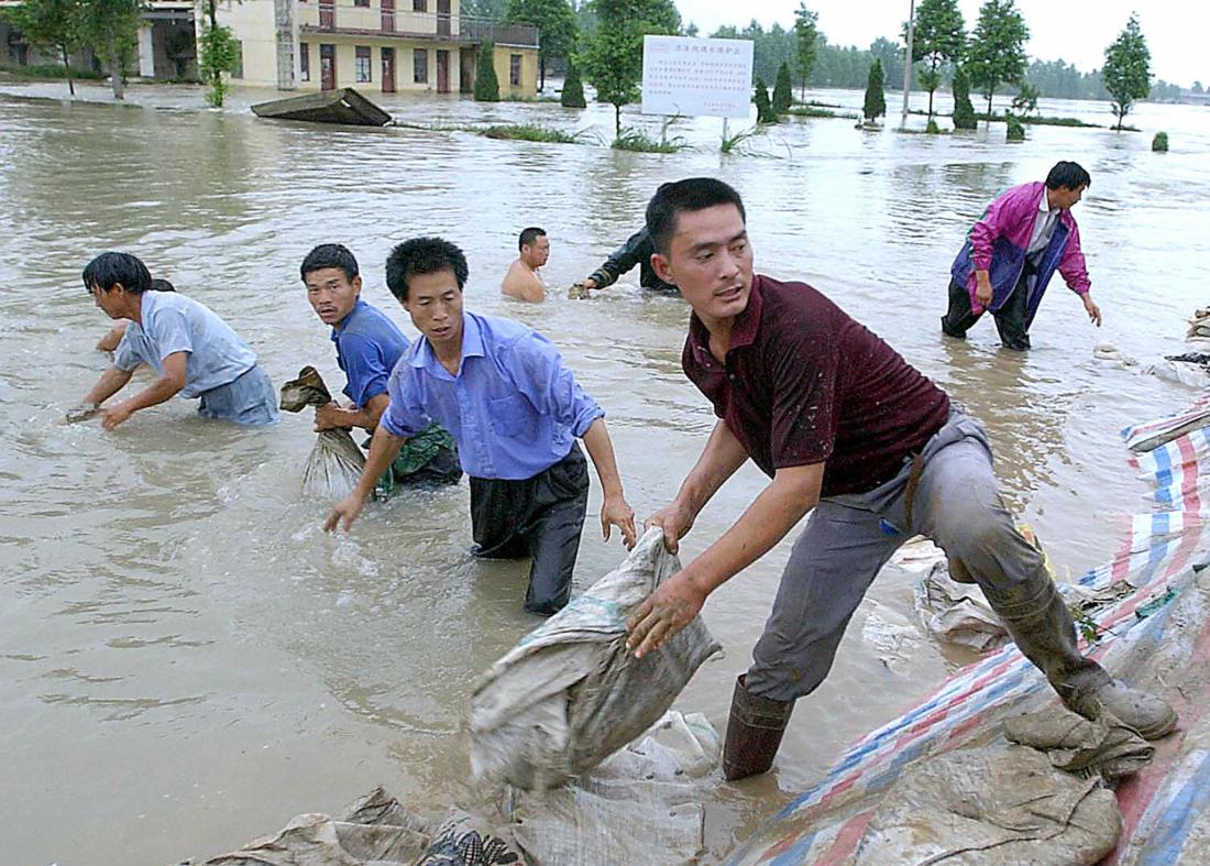 Mực nước sông Hoài ở tỉnh Giang Tô, Trung Quốc tăng cao