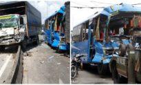 6 xe khách, xe tải đâm liên hoàn, 9 hành khách bị thương
