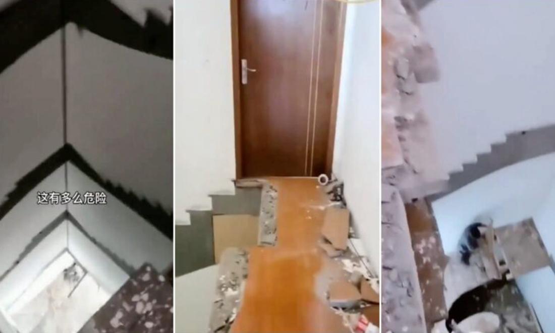Công trình 'kiểu Trung Quốc': Sáng sớm chủ hộ tầng 5 ra cửa và thấy cầu thang biến mất