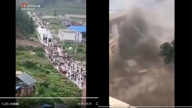 Lan truyền video hồ chứa nước ở Quý Châu sập, người dân bỏ chạy thoát thân