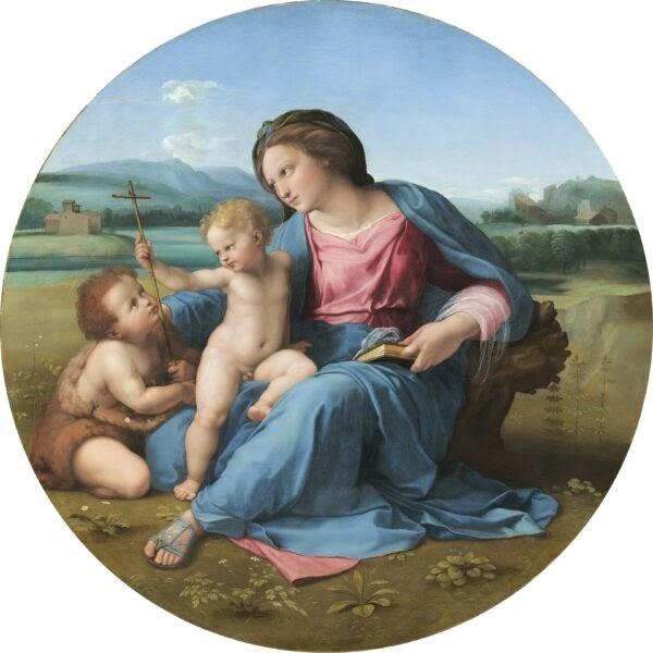 """""""The Alba Madonna,"""" vẽ bởi Raphael vào khoảng năm 1510. Sơn dầu trên bảng gỗ được chuyển sang vải. Bộ Sưu Tập Andrew W. Mellon, Phòng Trưng Bày Nghệ Thuật Quốc Gia, Washington. (Phòng Trưng Bày Nghệ Thuật Quốc Gia, Washington)"""