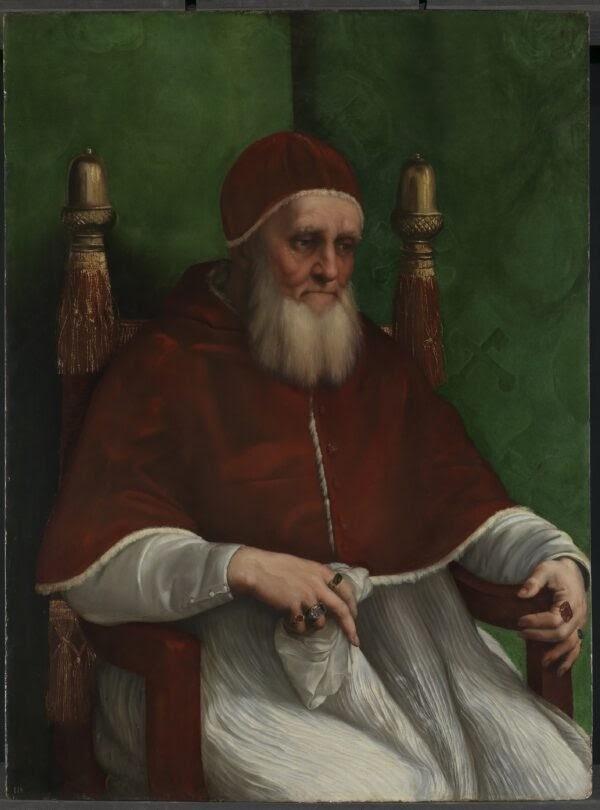 Chân dung Giáo hoàng Julius II, vẽ bởi Raphael năm 1512. Sơn dầu trên bảng gỗ. Phòng Trưng Bày Quốc Gia, London. (Phòng Trưng Bày Quốc Gia, London)