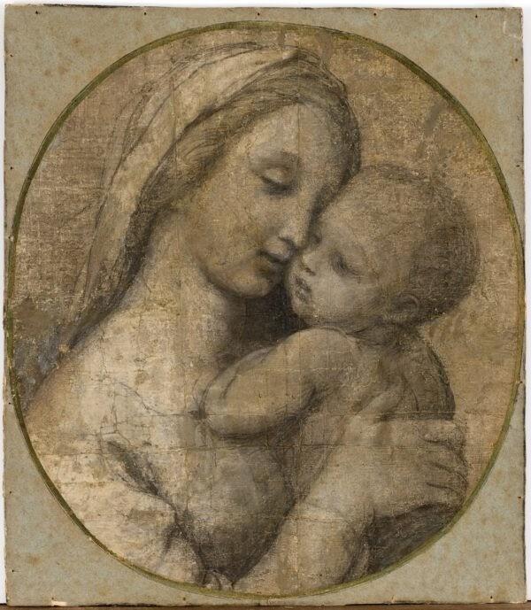 """Madonna Tempi,"" vẽ bởi Raphael khoảng năm 1507-1508. Phấn đen nhấn trắng. Bảo Tàng Fabre, Montpellier, Pháp. (Frédéric Jaulmes/Fabre of Montpellier Mediterranean Metropolis)"