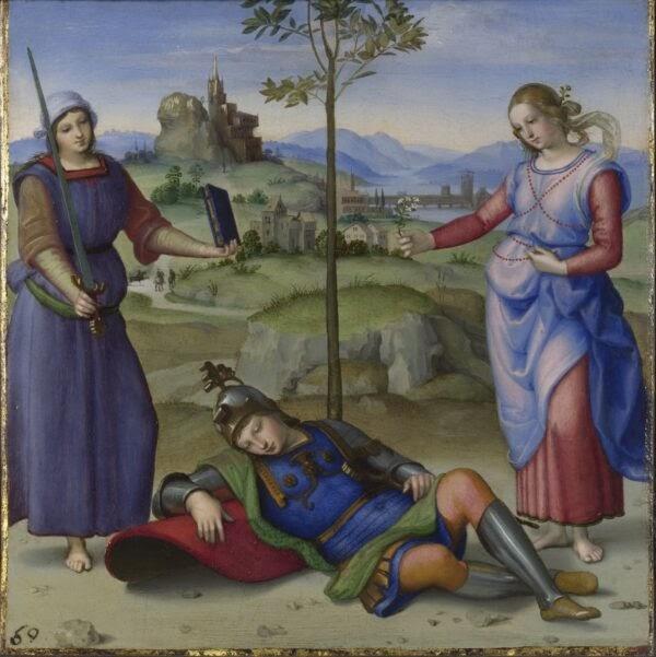 """""""Giấc Mơ Hiệp Sĩ (Hercules tại Giao Lộ),"""", còn được biết đến với tên là """"Chuyện Ngụ Ngôn (Ảo mộng của một Hiệp sĩ),"""" vẽ bởi Raphael năm 1504. Sơn dầu trên bảng gỗ. Phòng Trưng Bày Quốc Gia, London. (Phòng Trưng Bày Quốc Gia, London)"""