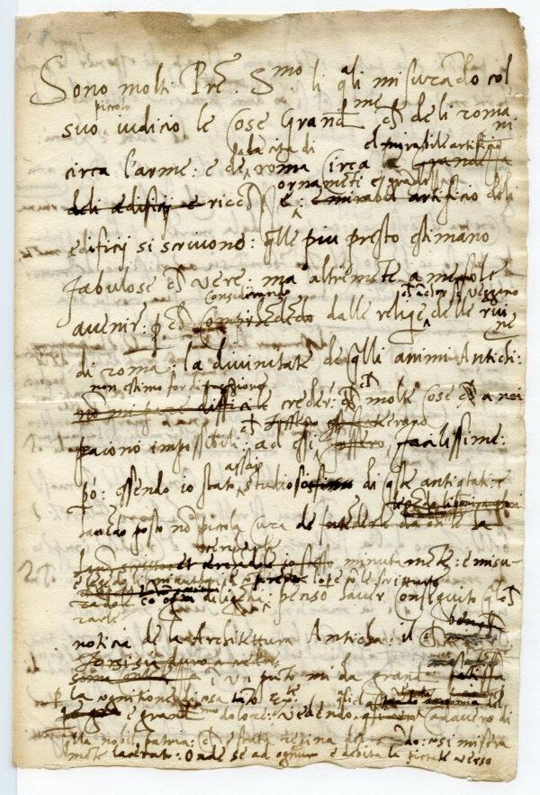 Thư gửi Giáo hoàng Leo X từ Baldassare Castiglione, 1519. Mực trên giấy. Lưu trữ nhà nước của thành phố Mantova, Ý. (Lưu trữ nhà nước của thành phố Mantova/ Được phép của Bộ Di Sản và Hoạt Động Văn Hóa và Du Lịch)