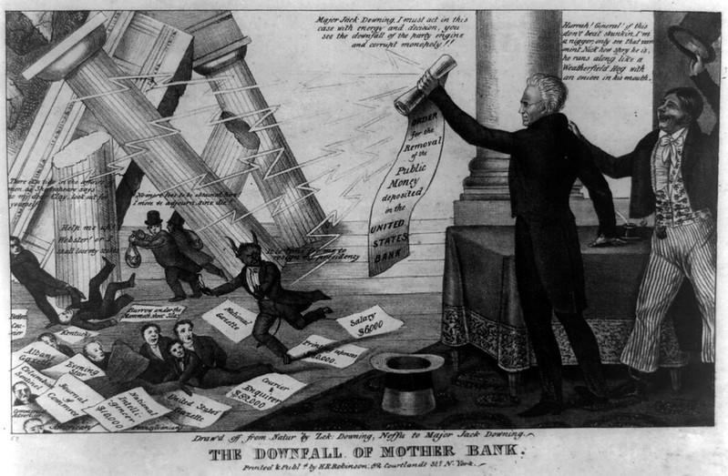 Tranh vẽ sự sụp đổ của ngân hàng vào năm 1833.