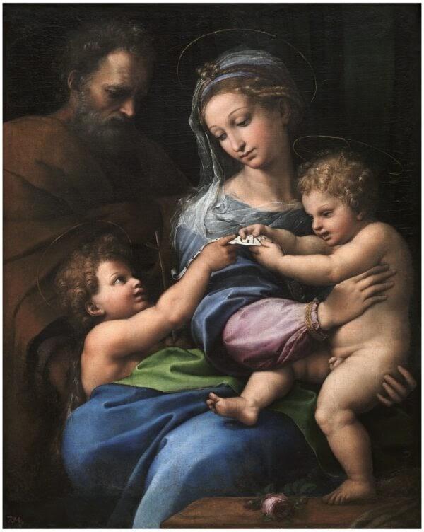 """""""Madonna of the Rose,"""" vẽ bởi Raphael năm 1918 -1520. Sơn dầu trên bảng gỗ được chuyển sang vải. Bảo Tàng Quốc Gia Prado tại Madrid, Tây Ban Nha. (Bảo Tàng Quốc Gia Prado 2020)"""