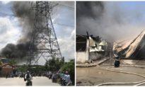 Bình Dương: Cháy công ty gỗ dưới đường điện cao thế