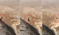 Cảnh hồ chứa Tân An Giang xả lũ như phim kinh dị, người đàn ông bắt cá bị lũ nuốt chửng trong 6 giây