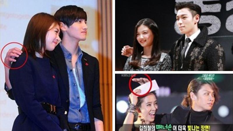 Khi một diễn viên Hàn Quốc chụp ảnh với một nữ diễn viên, ngay cả khi đó là động tác ôm vai hay ôm eo, họ sẽ giữ một khoảng cách. (Nguồn ảnh: video)