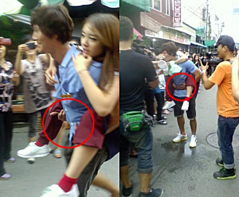 Khi cõng một cô gái, đàn ông Hàn Quốc cũng thể hiện phẩm chất quý ông của mình.