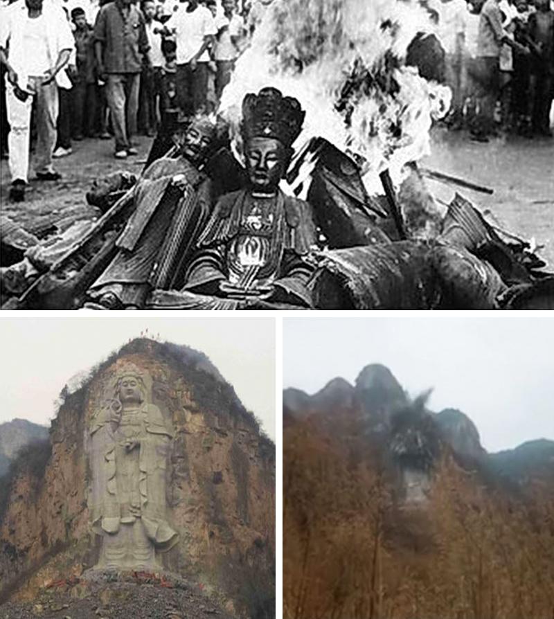 Kể từ khi nắm quyền, ĐCSTQ chưa bao giờ nới lỏng việc kiểm soát và hủy diệt tín ngưỡng tâm linh của người dân. Ảnh: Hồng Vệ Binh thiêu cháy các pho tượng Phật trong thời Cách mạng Văn hóa (trên); Tượng Bồ Tát Quán Âm được khắc trên vách đá bị cho nổ tung ở Trung Quốc vào năm 2019 (dưới).
