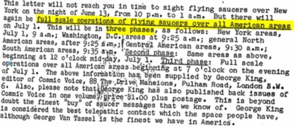 Tài liệu tiết lộ một bức thư dự báo sự xuất hiện của UFO trên lãnh thổ nước Mỹ.