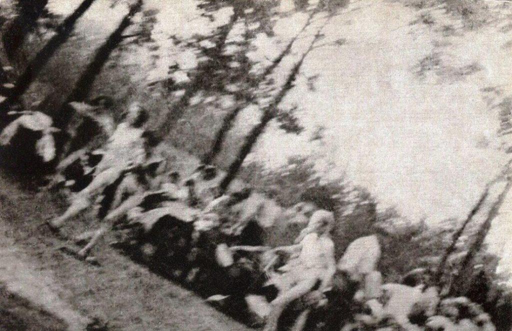 Một bức ảnh chụp từ một đoạn phim quay lén, ghi lại cảnh những người phụ nữ Do Thái đang tiến vào Phòng hơi ngạt, gần Lò thiêu số V. Thời điểm diễn ra vụ việc vào tháng 08/1944. (Wikipedia)