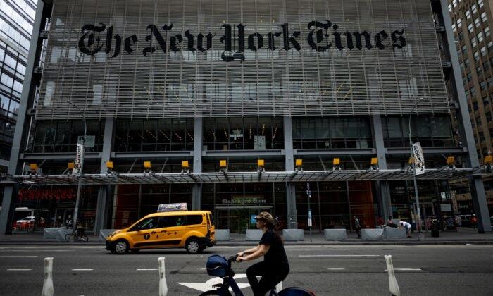 Tòa nhà New York Times ở Thành phố New York, N.Y., vào ngày 30/6/2020 (Johannes Eisele / AFP qua Getty Images)