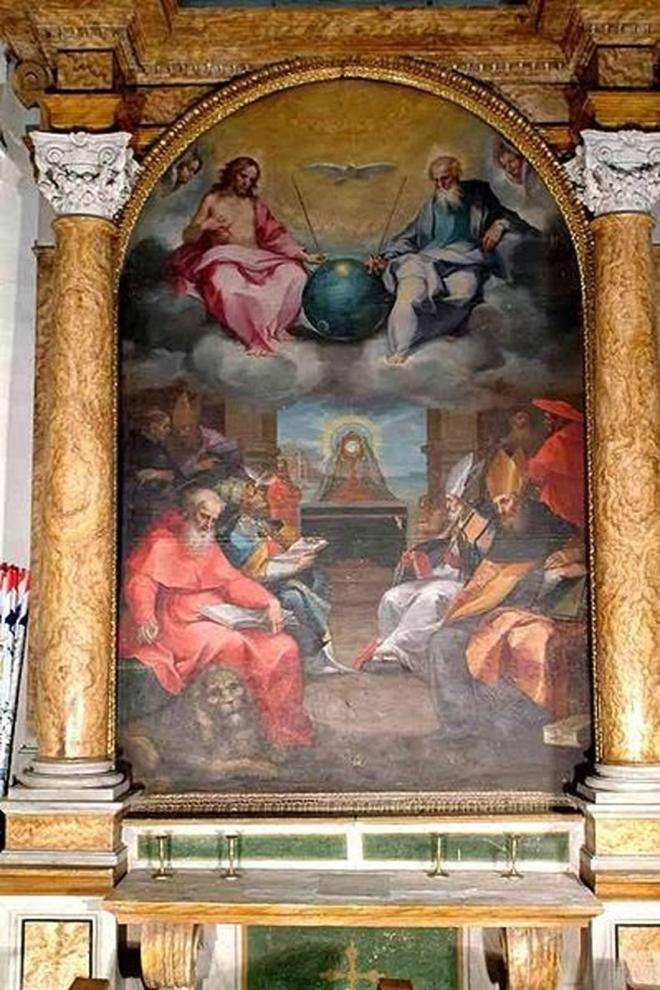 """Bức tranh """"Ca ngợi bữa cơm Thánh"""" của Bonaventura Salimbeni"""