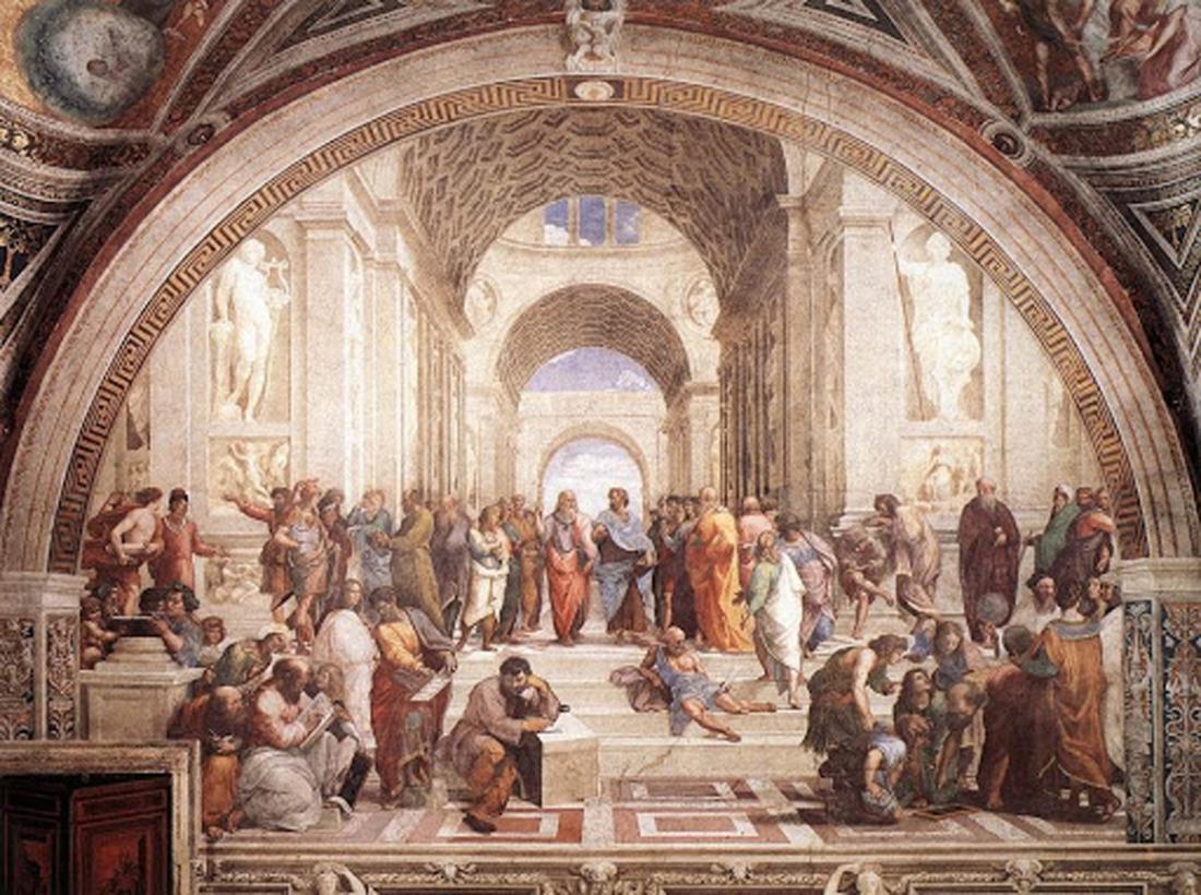 """""""Trường học Athens"""", tranh tường, 1509, Stanza della Segnatura, Palazzi Pontifici, Tòa thánh Vatican (Nhà nước thành phố Vatican)."""