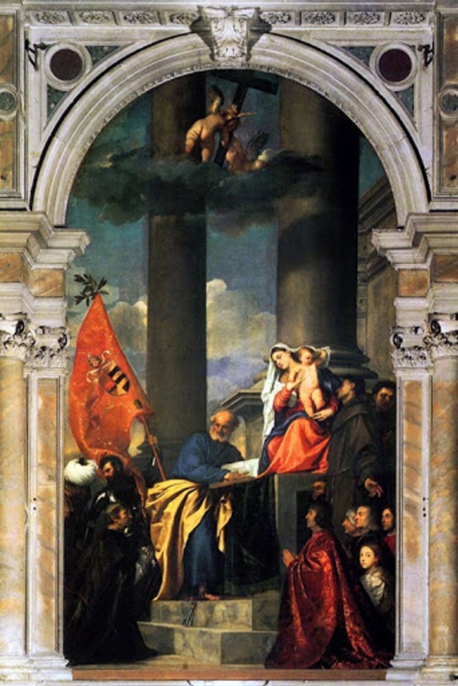 """""""Pesaros Madonna"""", sơn dầu trên vải, 1519-1526, bộ sưu tư nhân."""