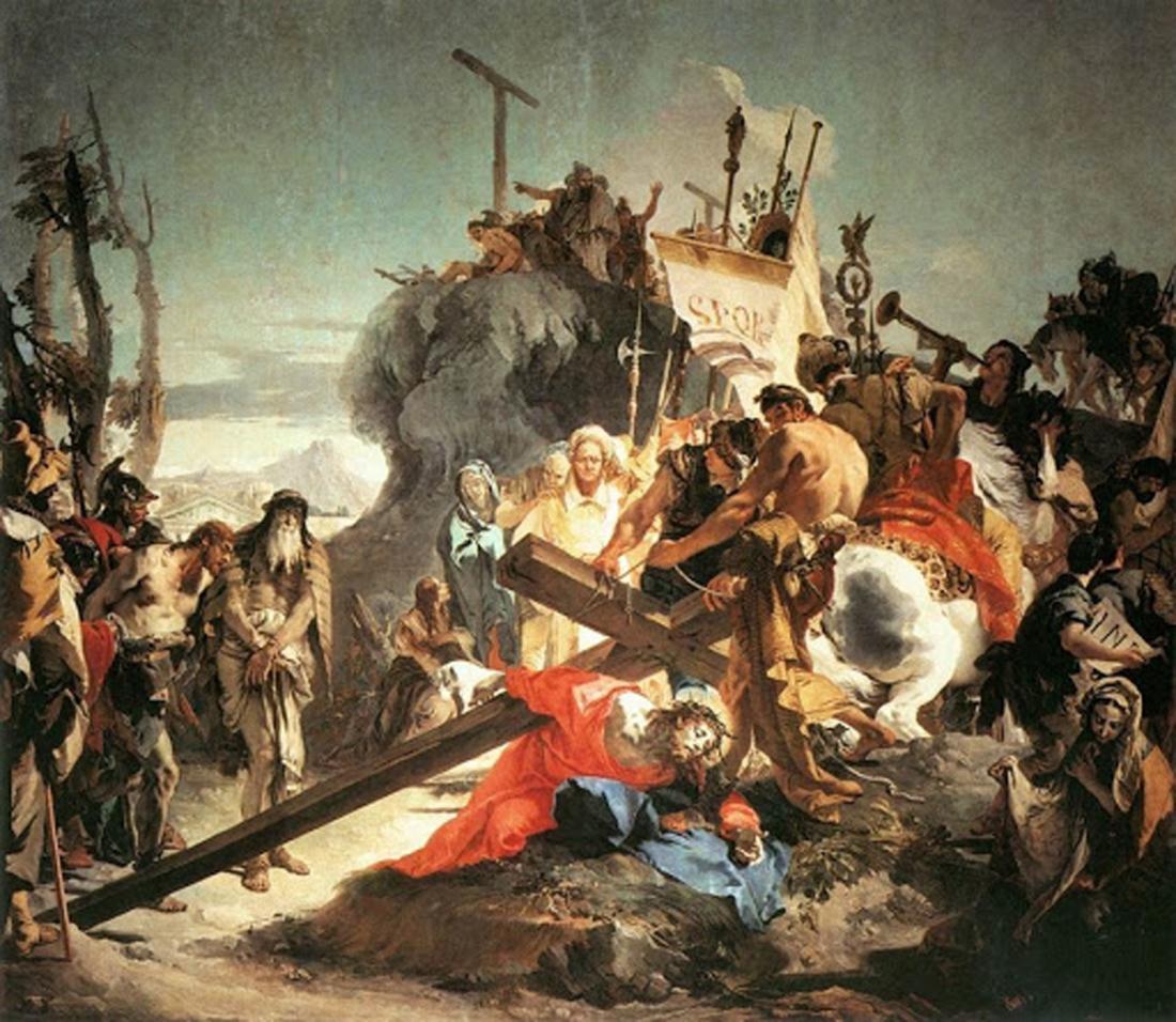 """""""Chúa Kitô vác Thánh giá,"""" tranh tường, 1737-1738, 4.5 x 5.16m, Sant'Alvise (Venice, Ý)."""