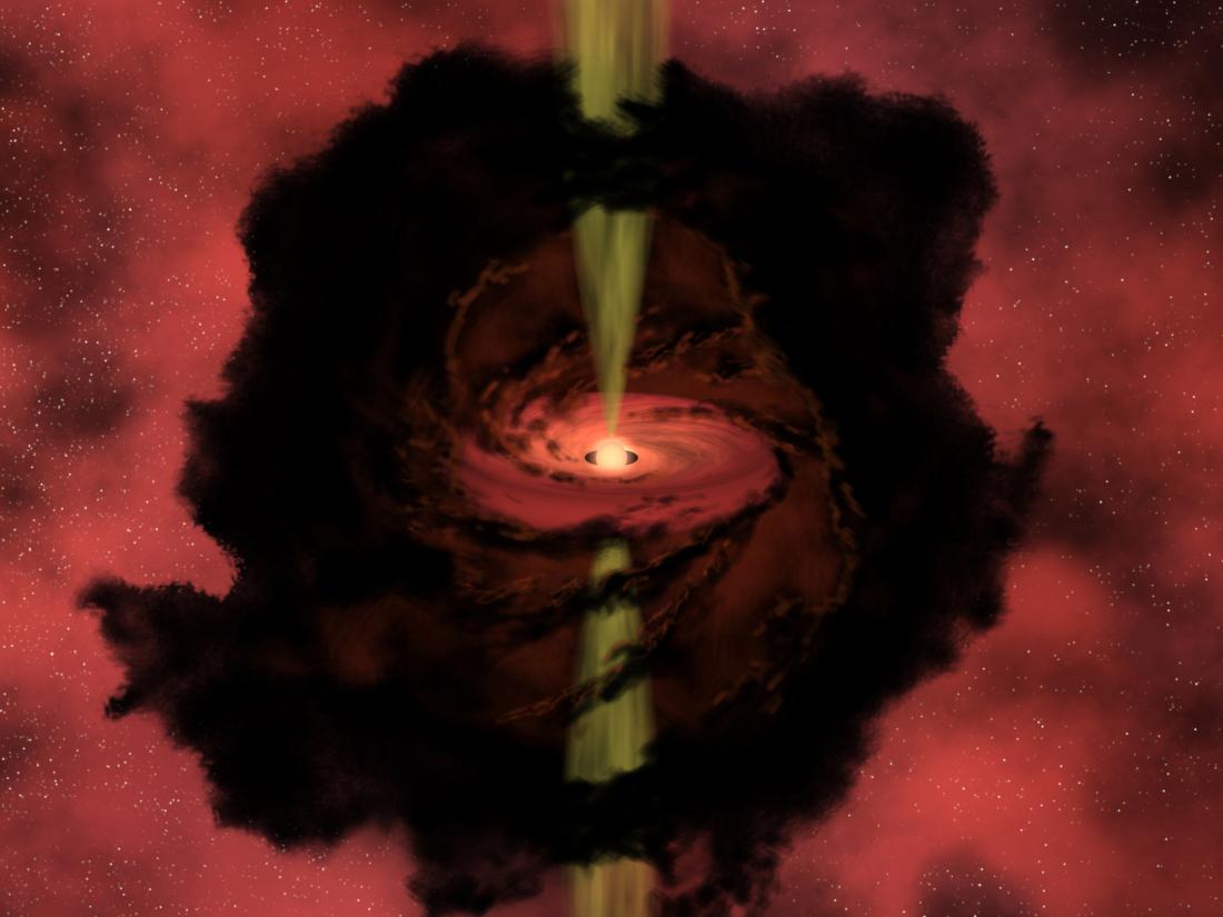 Minh họa quá trình hình thành sao trong đám mây phân tử mật độ cao.