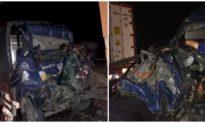 Xe tải va xe đầu kéo trên cao tốc, 2 người tử vong trong cabin