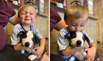 """""""Cặp đôi"""" hoàn hảo: Cậu bé sứt môi tìm thấy tình bạn với chú chó con cũng sứt môi"""