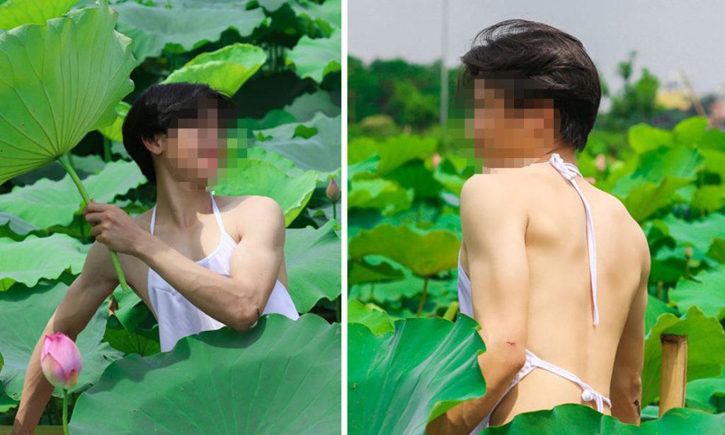 Một số người mặc dù chỉ có ý trêu đùa, nhưng cũng đã tạo ra sự phản cảm bằng những bức ảnh chụp bên hồ sen trong trang phục của nữ giới. (Tổng hợp qua 2sao.vn)