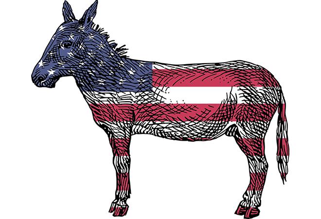 Biểu tượng của đảng Dân chủ là con lừa. Người theo đảng Dân chủ thường có tư tưởng theo cánh tả.