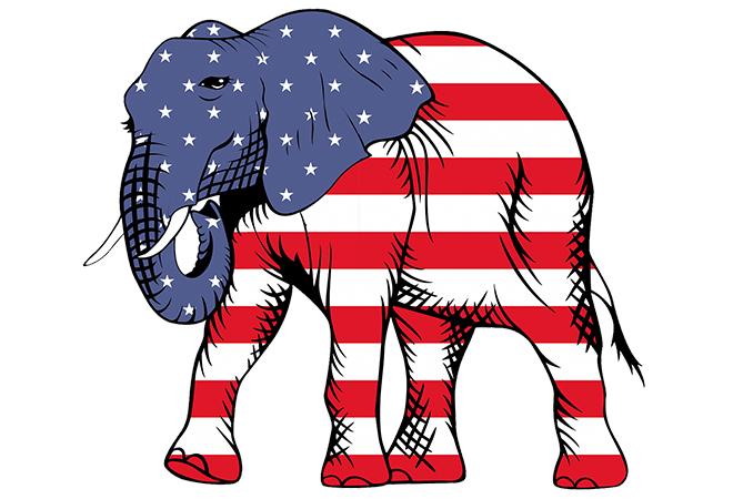 Biểu tượng của đảng Cộng hòa là con voi. Người theo đảng Cộng hòa có tư tưởng thiên về cánh hữu.